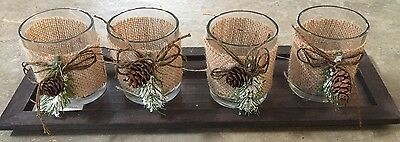 NWT 4 Decorated Glass Votive Christmas Candle Holders On Wooden Tray