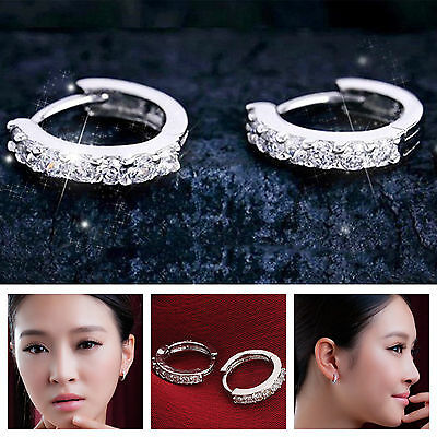 Charm CZ Crystal 925 Sterling Silver Stud Hoop Earrings Fashion Women Jewelry