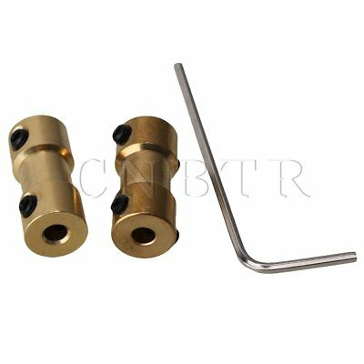 2pcs RC Airplane 3.17mm-3.17mm Brass Joint Motor Shaft Coupling Connector Golden