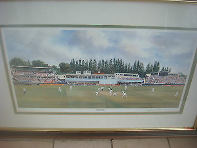 Signed Terry Harrison Cricket Print Edgbaston