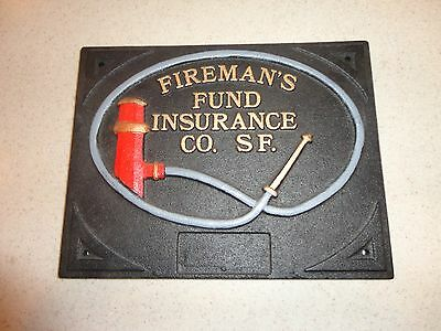 HTF Authentic FIREMAN'S FUND Fire Insurance Company Issued VTG Plaque Sign Mark