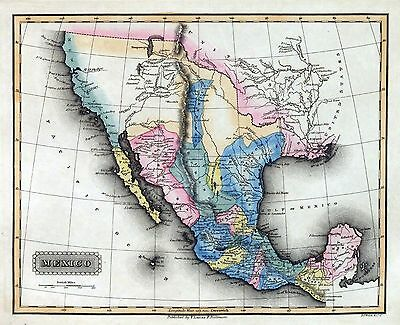1823 Lucas antique map poster of Mexico Mexican States 73