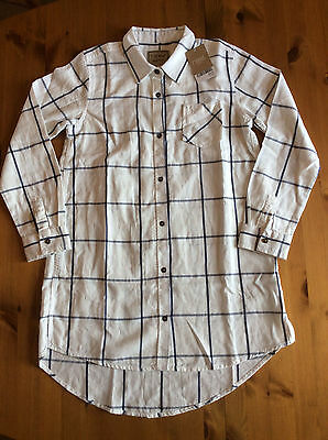 Next Girl's White/Navy Checked Brushed Cotton Long Shirt, Age 10 Years, BNWT