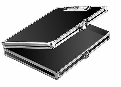 Vaultz Locking Storage Aluminum Clipboard Hard Black Solid Briefcase Case Paper