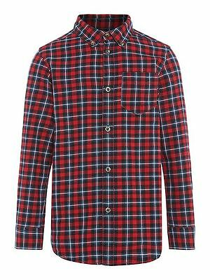 BENETTON Boys Long Sleeve Red Check Shirt size 12-18 months - Brand New