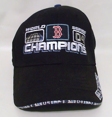 BOSTON RED SOX Black BASEBALL HAT 2004 WORLD SERIES CHAMPIONS with Velcro Strap