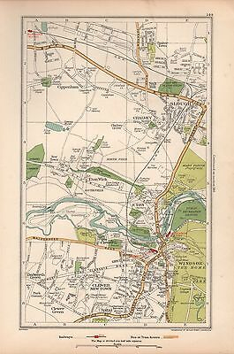 1933 London Map-Eton,windsor,chalvey,slough,clewer New Town,cippenham