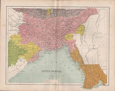 1875 Antique Map - India - Lower Bengal
