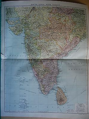 1919 Large Map- South India With Ceylon