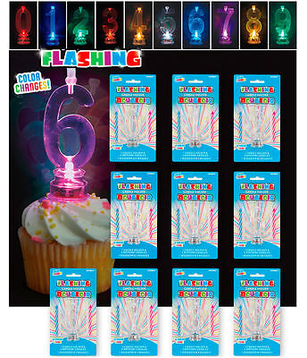 Unique Number Flashing Candle Holder & 4 Candles Happy Birthday Cake Decoration