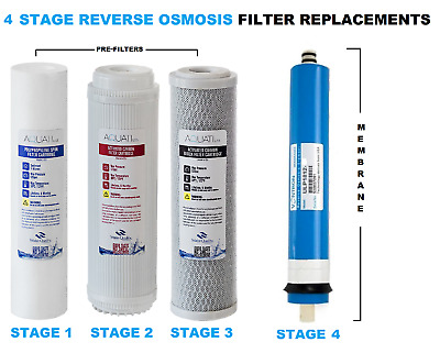 4 Stage Reverse Osmosis RO Complete Pre Filters Replacement with Membrane Aquati