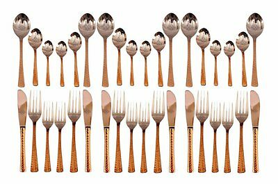 Handmade 36 Piece Steel Copper Cutlery Set - Home Hotel Restaurant Tableware