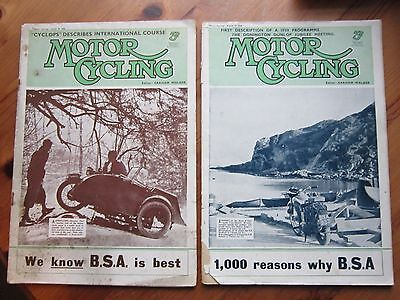 2 1938 Motor Cycling Magazines International Six Day Trial Gold Star, Speed Twin