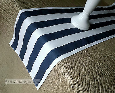 Navy Blue Table Runner Nautical  Stripe Home Decor Linens Table Centerpiece