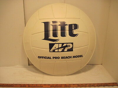 Old Vintage Plastic Beach Volleyball Miller Lite Beer Sign Advertising Barware