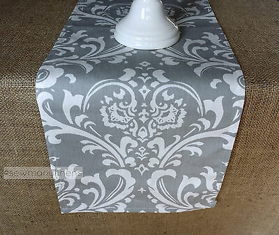 Gray Table Runner Floral Damask Home Decor Linens Dining Room Table Centerpiece