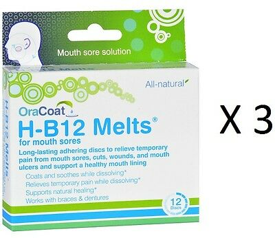 (3 Pack)OraCoat H-B12 MELTS,CANKER,COLD SORES PAIN RELIEF,12 Discs Ea, EXP 4/18+