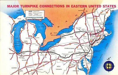 Postcard showing Major Turnpike Connections in Eastern United States - 1950's