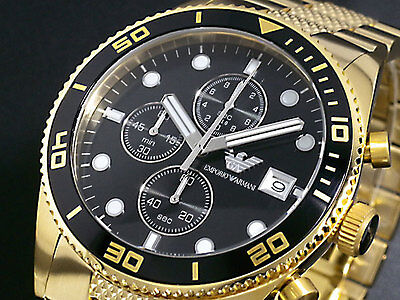 Brand New Emporio Armani Gold Chronograph Stainless Steel Men Watch Ar5857