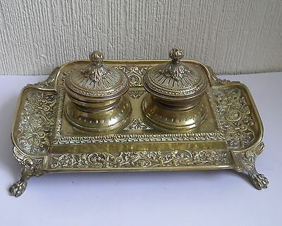Ornate Brass Antique Style Vintage Desktop Double Inkwell and Pen Tray