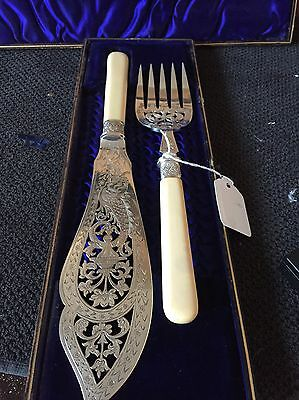 Antique Silver Plated Sterling Silver Fish Servers Pierced Atkin Brother
