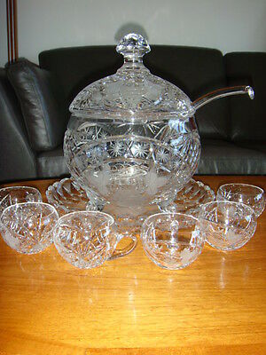 Germany TRAUBE Grape footed Crystal Covered Punch Bowl,Tray  and 6 matching Cups