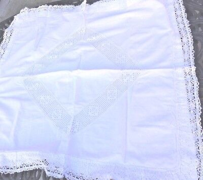 Antique White Cotton and Crochet Trim Euro Pillow Sham Cover