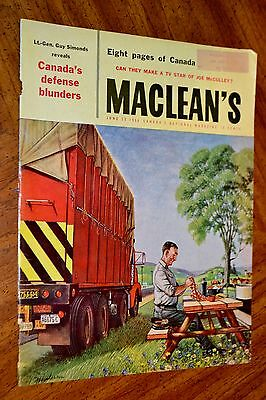 1956 Macleans Magazine Cover / Truck Driver Havin Lunch + White Rose Oil Gas Ad