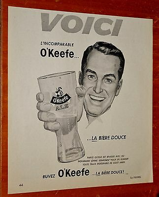 French 1958 Okeefe Beer Canadian Ad - Vintage Biere 50S Retro
