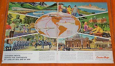 1961 Canadian Pacific Train Airplane Cruise Ship Ad - Vintage Cp Transport