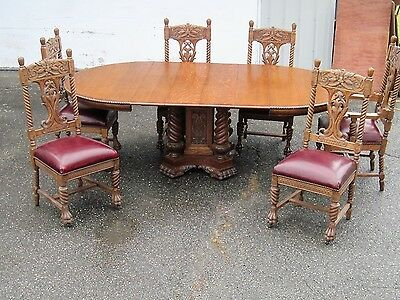 Antique Heavily Carved Oak  7 Pieces Dining Room Set North Wind Face Lions Paw