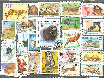 Wild Animals on stamps 200 all different collection -