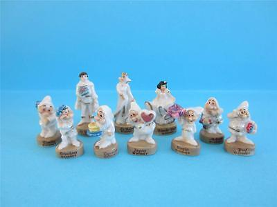 Amazing Miniature Porcelain Pearlized&gold Snow White And Seven Dwarves Figurine