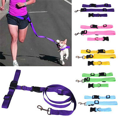 ADJUSTABLE HANDS FREE Running Pet Dog Leash Lead Waist Belt For Walking Jogging