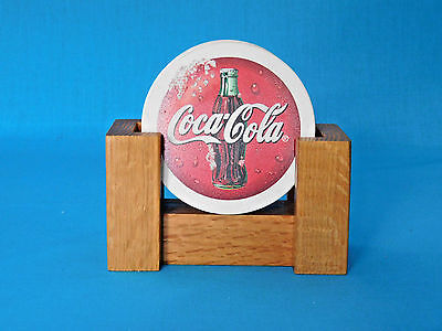 COCA-COLA Stoneware 4-piece Set COASTERS with Oak Rack Coke Cork Backs Bar Soda
