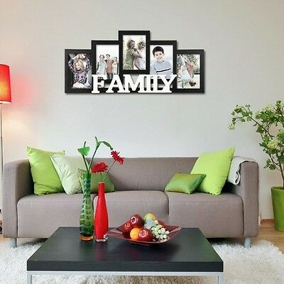 hanging wall decor family picture frame photo collage wood home black white new