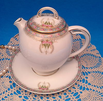 Antique HC ROYAL BAVARIA c1900 Tea / Chocolate / Syrup Pot & Attached Underplate