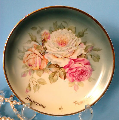 Antique C T ALTWASSER Plate c.1925 Hand Painted Roses Port Perry Ontario Charger