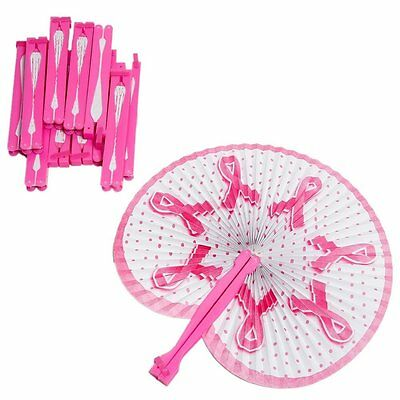 "Pink Ribbon Folding Fans (12 Pieces) 9 1/2"" Fan"