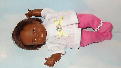 1967 Ideal Newborn Thumbelina Pullstring Doll w/ 2 PC Outfit RARE Black Doll*