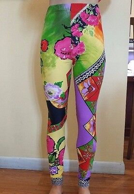Retro Printed Gianni Versace Leggings Lycra Pants Sz 42 1990's Brand New