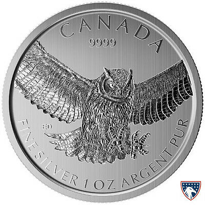 2015 1 oz Canadian Silver Horned Owl Coin (BU)