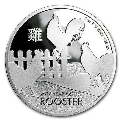 2017 1 oz New Zealand Silver $2 Lunar Rooster Coin (BU)