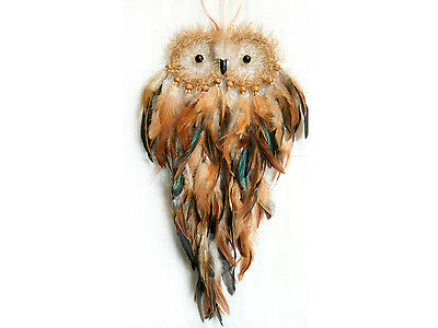 Dream Catcher Owl, Brown shades. With feathers and wooden beads.