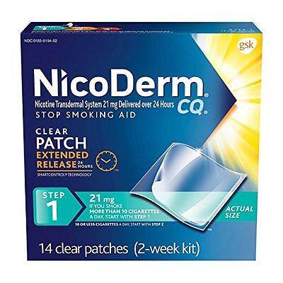 4 Pack - NicoDerm CQ Clear Nicotine Patch 21 milligram (Step 1) 14 Each