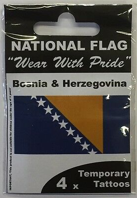 Bosnia & Herzegovina National Flag Temporary Tattoos | Pack Of 4