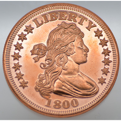 1 Oz .999 Fine Copper - Liberty 1800