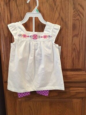NEW NWT Girls  CARTERS Outfit 2 Piece Pink White Top Purple  Leggings 18 Months