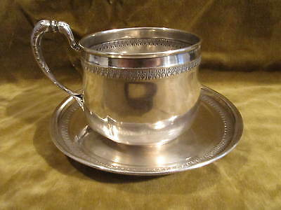 early 20th c french sterling 950 silver tea cup & saucer Empire st Bardies 221g