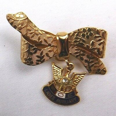 Vintage FOE Ladies Auxiliary Gold Ribbon & Eagle Hanger Pin or Medal J17